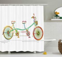 Tandem Bisiklet Desenli Duş Perdesi Rengarenk
