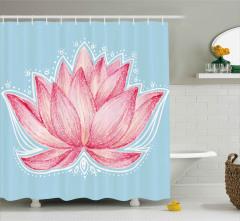 Pembe Lotusun Büyüsü Duş Perdesi Çeyizlik