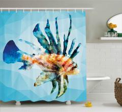 Aslan Balığı Desenli Duş Perdesi Kristal Etkili