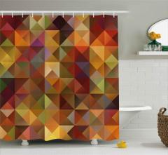 Rengarenk Üçgen Desenli Duş Perdesi Geometrik