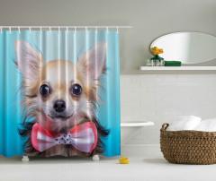 Papyonlu Köpek Desenli Duş Perdesi Kahverengi Şık