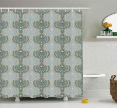 Turkuaz Mavi Geometrik Desenli Duş Perdesi Dekoratif