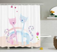 Kedi Aşkına Dair Duş Perdesi Pembe ve Mavi