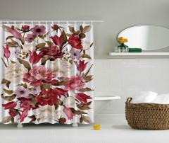 Çiçek Desenli Duş Perdesi Pembe Kahverengi Trend