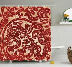 Dalga Formlu Sarmaşıklar Duş Perdesi Dekoratif