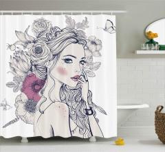 Çiçekler ve Sarışın Kız Duş Perdesi Dekoratif