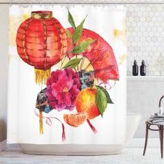 Kırmızı Çiçek ve Meyve Desenli Duş Perdesi Trend