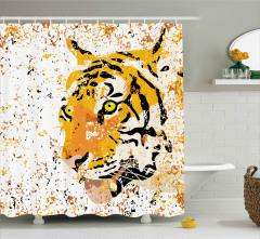 Kırçıllı Kaplan Portresi Duş Perdesi Vahşi Doğa