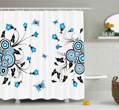 Mavi Çiçekler ve Kelebekler Duş Perdesi Çeyizlik