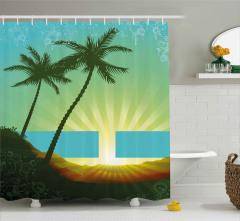 Palmiyeler ve Mavi Bant Duş Perdesi Modern