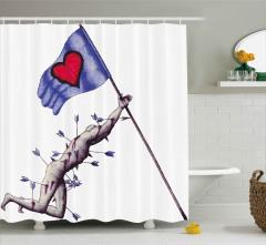 Sevginin Bayrağı Düşmez Duş Perdesi Romantik