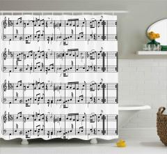 Porte ve Notalar Duş Perdesi Müziğin Dili