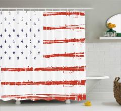 Silik Amerikan Bayrağı Duş Perdesi Dekoratif