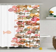 Pembe Balık Desenli Duş Perdesi Deniz Temalı Şık