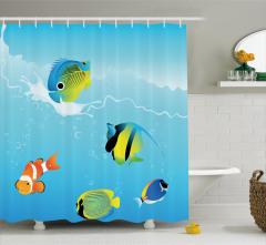 Egzotik Balıklar Desenli Duş Perdesi Dalgalı Deniz