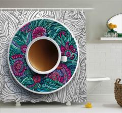 Fincan ve Mandalalı Tabağı Duş Perdesi Modern