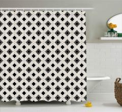 Siyah Beyaz Karolar Duş Perdesi Dekoratif