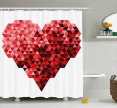 Kırmızı Kristal Efektli Kalp Duş Perdesi Geometrik