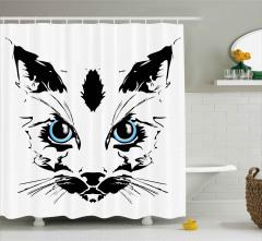Mavi Gözlü Kedi Duş Perdesi Dekoratif Şık