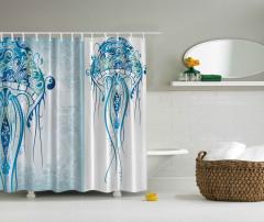 Ahtapot Desenli Duş Perdesi Mavi Deniz Şık Tasarım