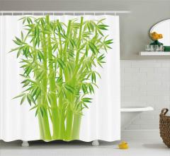 Şık Bambular Desenli Duş Perdesi Yeşil Doğa