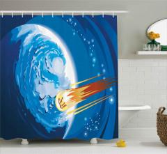 Meteor ve Mavi Dünya Duş Perdesi Uzay