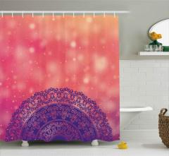 Mandalanın Üzerine Yağan Işık Duş Perdesi Dekoratif