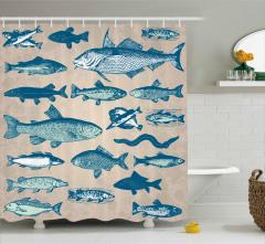 Balık Desenli Duş Perdesi Bej Mavi Şık Tasarım Trend