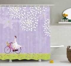 Gelin ve Çiçekli Bisikleti Duş Perdesi Romantik