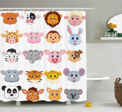Sevimli Hayvan Yüzleri Desenli Duş Perdesi Şık