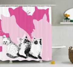 Farklı Yönlere Bakan Kediler Duş Perdesi Sevimli