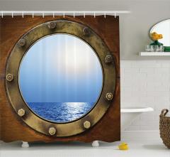 Gemi Kamarası Temalı Duş Perdesi Kahverengi Mavi
