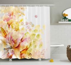 Stilize Lilyum Çiçekleri Duş Perdesi Çeyizlik
