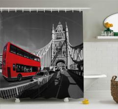 İki Katlı İngiliz Otobüsü Duş Perdesi Londra Köprüsü