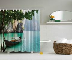 Nehir ve Tekne Temalı Duş Perdesi Yeşil Şık Tasarım