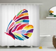 Yaprak Formlu Kelebek Desenli Duş Perdesi Rengarenk