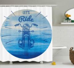 Retro Motosiklet Desenli Duş Perdesi Haydi Sür