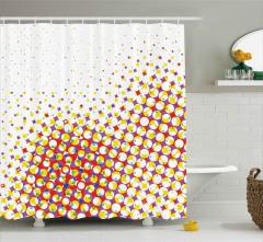 Rengarenk Geometrik Şekiller Duş Perdesi Şık Retro