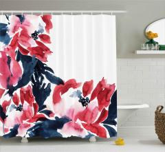 Sulu Boya Kırmızı Çiçekler Duş Perdesi Çeyizlik