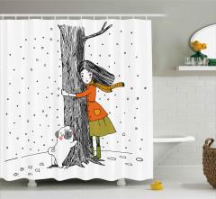 Kız Köpek ve Ağaç Duş Perdesi Dekoratif Şık