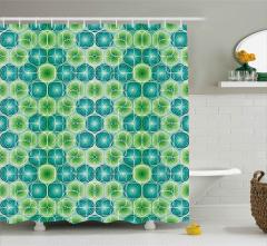 Yeşil Turkuaz Lahana Desenli Duş Perdesi Geometrik