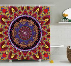 İç İçe Rengarenk Mandala Duş Perdesi Geometrik