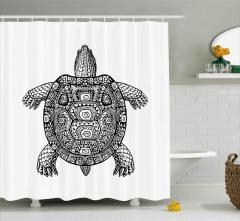 Siyah Beyaz Kaplumbağa Desenli Duş Perdesi Dekoratif
