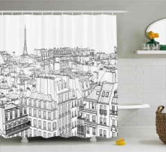 Paris Binaları Desenli Duş Perdesi Siyah Beyaz Şık