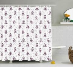 Sevimli Baykuş Desenli Duş Perdesi Kuşlu Şık Tasarım