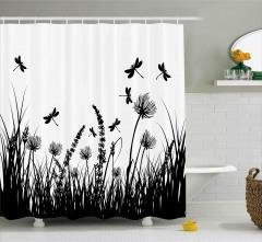 Yusufçuklar ve Çiçekler Duş Perdesi Siyah Beyaz