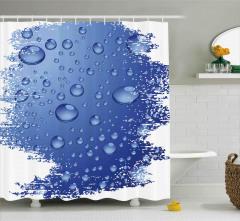 Mavi Yağmur Damlaları Desenli Duş Perdesi Dekoratif