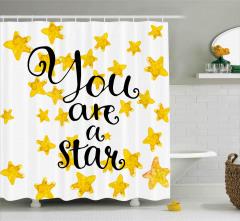 Sen Bir Yıldızsın Duş Perdesi Altın Kaligrafik Şık