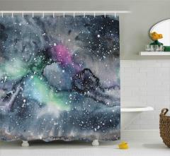 Sulu Boya Galaksi Desenli Duş Perdesi Gri Uzay Şık