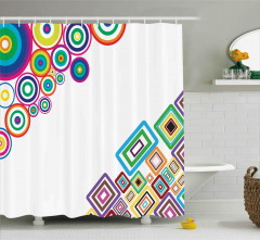 Rengarenk Geometrik Desenli Duş Perdesi Daire Kare